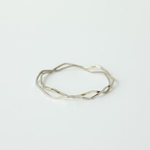 Jewelry - Silver & Gold Waved Bangle Bracelets (Set of 2)